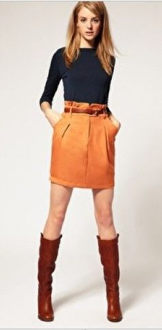 orange skirt, navy or gray top, brown boots