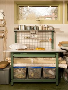 From Potting Bench to Craft Table >> http://blog.diynetwork.com/maderemade/2014/03/03/a-craft-space-upcycle-from-potting-bench-to-project-table/?soc=pinterest