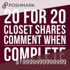 COME AND SHARE  20+20 TEAM WORK  MAKES THE  DREAM COME TRUE   XOX - HUGS   - Lets Help Increase Each Other's Followers And Sales $$  - Share 20 of my active listing and I'll Share Love back  20 of yours !  >TAGE ME IN THE COMMENT BELOW WHEN YOUR DONE SO YOU DON'T GET LOST IN MY  NEWS FEED! <  Don't forget to LIKE  the listing – Come back as often as you like! Poshers share the LOVE Other