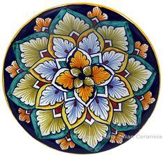 majolica+|+Ceramic+Majolica+Plate+G04+Brown+Light+Blue+12cm
