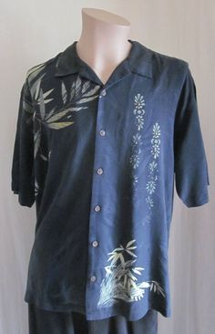 TOMMY BAHAMA Men's Black Green Hawaiian 100% SILK S/S B/F Shirt XL XLarge #TommyBahama #Hawaiian