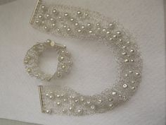 Silver plated wire crochet jewelry set with by LucianaJewelry