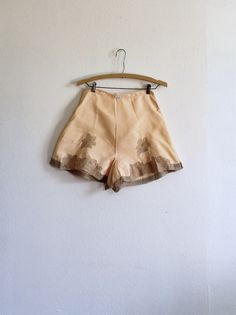 vintage 1920s tap pants 20s peach pink silk lingerie knickers with gray floral lace trim flapper boudoir / everleigh via Etsy