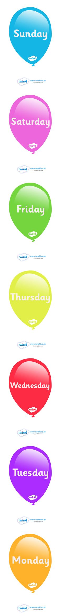 Twinkl Resources >> Days Of The Week On Balloons  >> Thousands of printable primary teaching resources for EYFS, KS1, KS2 and beyond! weeks poster, display, poster, days of the week,