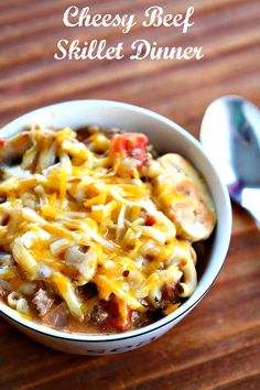 Cheesy Beef Skillet Dinner. This one pot comfort food dinner will be a hit with the family! From @kitchenmagpie,