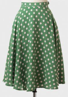 Corner Store Polka Dot Midi Skirt   Modern Vintage Bottoms   Modern Vintage Clothing