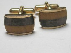 Vintage Brown/Golden Two-Tone Austria Cuff Links, (bakelite or natural stone?) #Austria