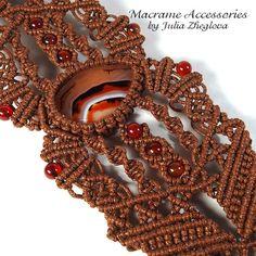 Macrame Bracelet With Orange Carnelian woman braided by makrame.