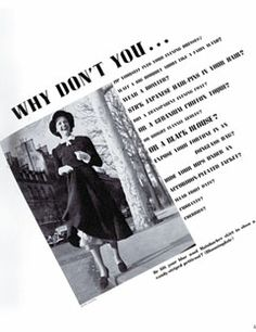 1936: The iconic Why Don't You ...? by Diana Vreeland column first appears.