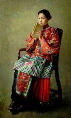 Liu Wenquan (b,1956)- Woman in Chair w Book