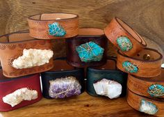 Custom LUX Recycled Leather Gemstone Cuff by luxdivine on Etsy, $125.00