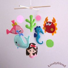 under the sea felt mobile with a whale, a fish, seahorse, crab and of course a sweet mermaid