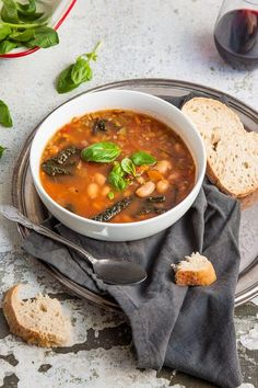 Tuscan Bean Soup Recipe - this hearty Tuscan bean soup is so warming and nourishing. It's sure to cure whatever ails you! | Get the recipe at DeliciousEveryday.com