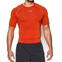 Under Armour Mens HeatGear Armour Short Sleeve Compression Shirt Dark OrangeSteel Large -- Want additional info? Click on the image.
