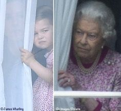 June 17, 2017: Princess Charlotte and her Grandma Queen Elizabeth II looking through the curtains of Buckingham Palace before the Trooping of the Colour..