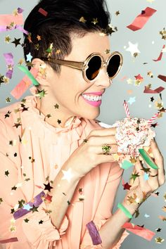 Karen Walker turns campaign star for her eponymous sunglasses brand's tenth anniversary.