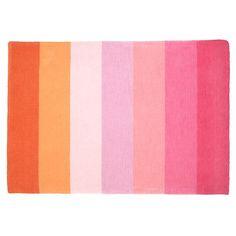 The Land of Nod | Kids' Rugs: Kids Pink & Orange Broad Stripe Wool Rug in All Room Decor for the nursery