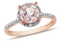 Morganite Ring - Morganite And Diamond 10K Pink Gold Ring 1 1/5 Carat