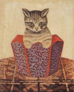 "Sal Meijer (Dutch, 1877-1965) - ""Poes in prullenmand"" (Cat in the wastepaper basket)"
