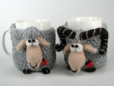 Cup cozy mug cosy crochet cozy crochet sheep ram crocheted animal tea mug coffee cup kitchen decor Set of Sheep and Ram