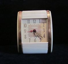 "Vintage Westclox Art Deco Travel Alarm Clock w/Bakelite ""Roll Top"" Case 1940s Made in USA Working Very Good Condition"