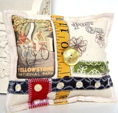 Vintage Style Fabric Post Card Pin Cushion