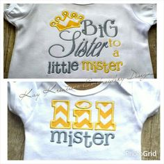 BIG SISTER AND LITTLE MISTER EMBROIDERY SHIRTS AT Kay Kreations Embroidery Designs!