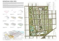 """Winners of """"The Rust Belt"""" Contest Offer Ideas for a 107-Acre Former Factory Site,Kenosha High Res. Image Courtesy of Urban Design for Everyone"""