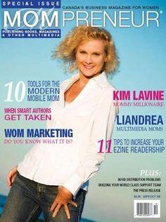Kim Lavine on cover of MOMPRENEUR Magazine