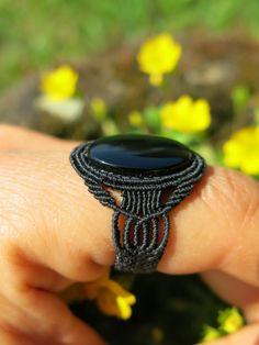 Black Onyx on Black Micro Macrame Ring - Dark, gothic handmade ring, boho, yoga…