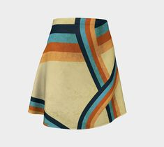Women's flare skirt, Abstract Geometric design, Colorful, Grungy, Cute, Women's summer skirt, Cute summer skirt, Gold Skirt