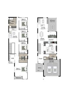 Lincoln is a small lot and narrow block home design by GW Homes, the leading Brisbane home builders. Call our friendly team on 3393 1399 to find out more. Micro House Plans, Narrow House Plans, New House Plans, Modern House Plans, House Floor Plans, Layouts Casa, House Layouts, Dream Home Design, Home Design Plans