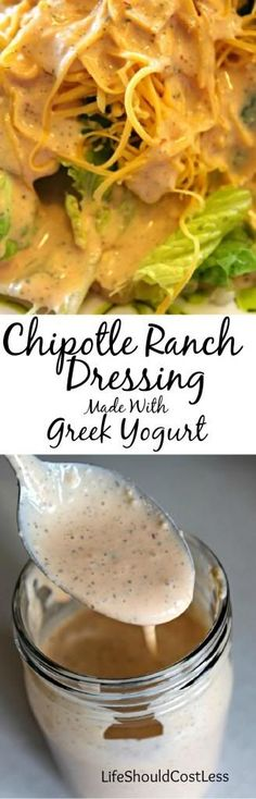 Chipotle Ranch Dressing Made With Greek Yogurt! It's super tasty and you can customize it and make it as hot as you want it.{lifeshouldcostless.com}