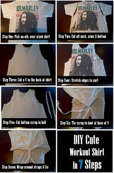 No sewing required workout shirt! I have the perfect shirt for this! Diy Crafts For Gifts, Fun Crafts, Pretty Outfits, Cool Outfits, Diy Fashion Accessories, Shirt Refashion, Diy Clothing, Clever Diy, Workout Shirts