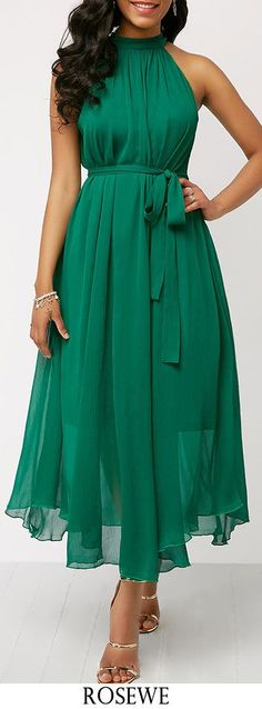 2019 Elegant Women Chiffon Dress Summer Female Off Shoulder Beach Halter Dress Sexy Ladies Green Lace Up Party Dress Dresses Elegant, Pretty Dresses, Beautiful Dresses, Classy Outfits, Classy Clothes, Spring Dresses, Mode Style, Green Dress, Green Lace