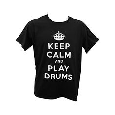 "Shaw ""Keep Calm And Play Tambores adulto camiseta negro negro X-Large #camiseta #realidadaumentada #ideas #regalo"