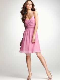 A-line Pink Spaghetti Straps V-Neckline Knee Length Chiffon Bridesmaid Dress BD10331