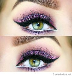 Pink glitter and green eyes