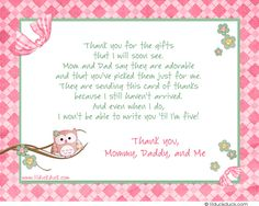 Flower Owl Branch Thank You Card Back