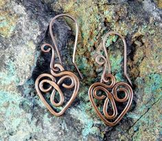 Celtic Heart Copper Wire Earrings...I want one as a pendant:-)