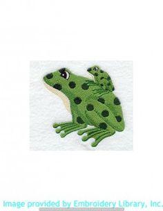 Stickmotiv Stickbild Aufnäher Stickerei Emblem Frosch  Frosch /  Stickerei Plush Frog & Baby (M2255)