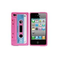 Amazon.com: InSassy Pink/Blue Cassette Tape Case / Skin / Cover for Apple iPhone 4 /4G (AT and T and Verizon): Cell Phones & Accessories