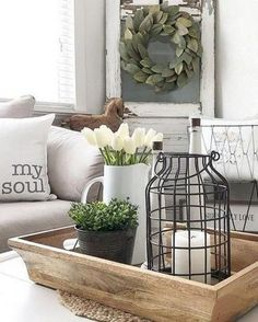 Light Wooden Tray and Farmhouse Coffee Table Decor farmhouse decor Farmhouse Tabletop Arrangement Centerpieces Living Room Remodel, Rugs In Living Room, Apartment Living, Modern Farmhouse Living Room Decor, Attic Remodel, Modern Farmhouse Decor, Apartment Kitchen, Room Rugs, Living Area