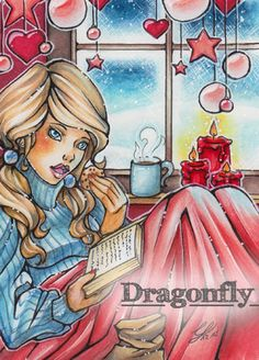 """#21 """"A Winters Day""""  Illustration, Copic Art, Comic, Manga, ACEO Card / Kakao-Karte by Dragonfly Artworks"""