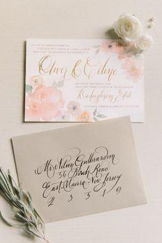 Beautiful watercolor floral wedding invitations: http://www.stylemepretty.com/washington-dc-weddings/2014/08/05/parisian-inspired-shoot-in-washington-dc/   Photography: L. Hewitt - http://landmhewitt.com/