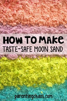 Taste Safe Moon Sand Recipe for toddlers and older kids! How to Make Moon Sand: Make this taste safe homemade moon sand with this easy recipe for a fantastic sensory play experience for kids, using just 3 simple ingredients! Toddler Fun, Toddler Crafts, Diy Crafts For Kids, Toddler Snacks, Older Kids Crafts, Craft Ideas, Kids Diy, Diy Moon Sand, Homemade Moon Sand