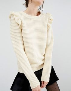 Buy Willow and Paige Ribbed Jumper With Shoulder Ruffle at ASOS. With free delivery and return options (Ts&Cs apply), online shopping has never been so easy. Get the latest trends with ASOS now. Knitwear Fashion, Knit Fashion, Cute Kids Fashion, Mode Chic, Pullover, Ribbed Sweater, Asos, Crochet Clothes, Pulls