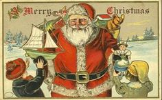 Christmas card Santa with toys Merry Christmas 1906 card - SantaMerry Christmas 1906 card - Santa Old Christmas, Christmas Crafts, Christmas Ideas, Vintage Santas, Vintage Cards, Boy Or Girl, Scary, Princess Zelda, Seasons