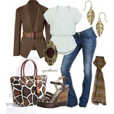 Jean Outfit (white, brown, gold, print)