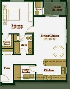 Except putting pocket doors on both sides of the pantry to walk straight from the door.this is pretty damn perfect! A Little Bit of This, That, and Everything: Tiny House Blueprint Small Tiny House, Tiny House Living, Small House Plans, House Floor Plans, Small Homes, Living Room, Kitchen Living, Little Houses, Tiny Houses
